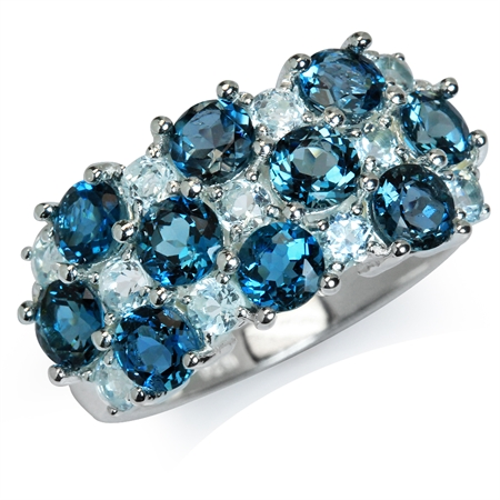 2.9ct. Genuine London Blue & Blue Topaz 925 Sterling Silver Cluster Ring