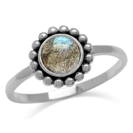 6MM Round Shape Labradorite 925 Sterling Silver Bali/Balinese Style Ring