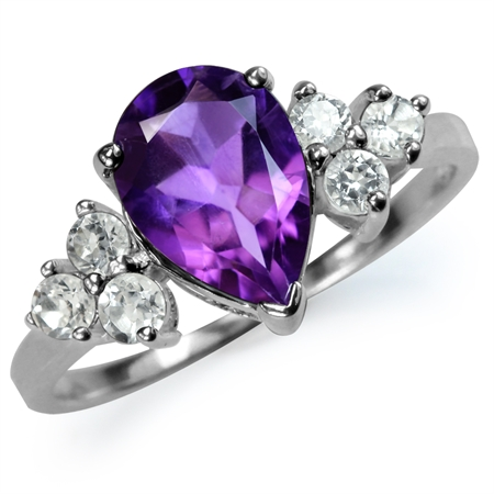 1.44ct. Natural African Amethyst & White Topaz 925 Sterling Silver Cocktail Ring
