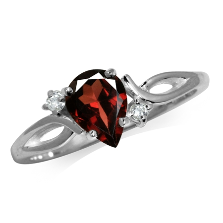 1ct. Natural Garnet & White Topaz 925 Sterling Silver Engagement Ring