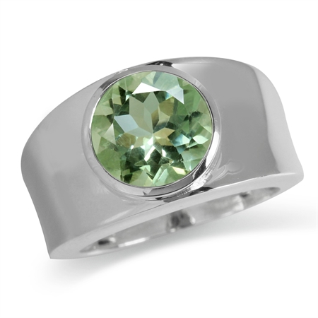 3.75ct. Natural Green Amethyst 925 Sterling Silver Solitaire Ring