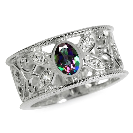 Mystic Fire Topaz White Gold Plated 925 Sterling Silver