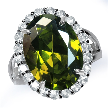 HUGE Olive Green CZ 925 Sterling Silver Glamorous Cocktail Ring