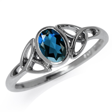 Genuine London Blue Topaz 925 Sterling Silver Triquetra Celtic Knot Ring