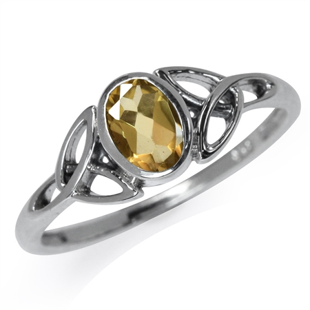 Natural Citrine White Gold Plated 925 Sterling Silver Triquetra Celtic Knot Ring
