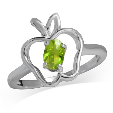 Peridot Green CZ 925 Sterling Silver Apple Solitaire Ring