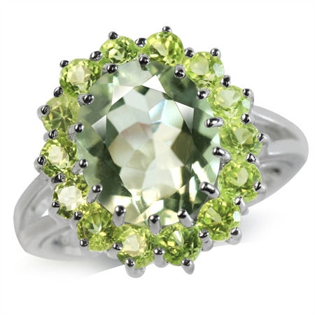 4.13ct. Natural Green Amethyst & Peridot White Gold Plated 925 Sterling Silver Cluster Cocktail Ring