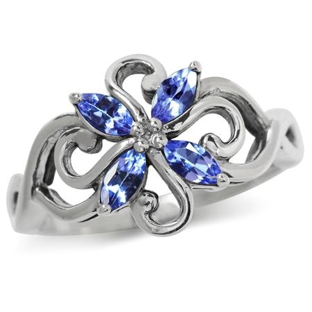 Genuine Tanzanite 925 Sterling Silver Victorian Style Flower Ring