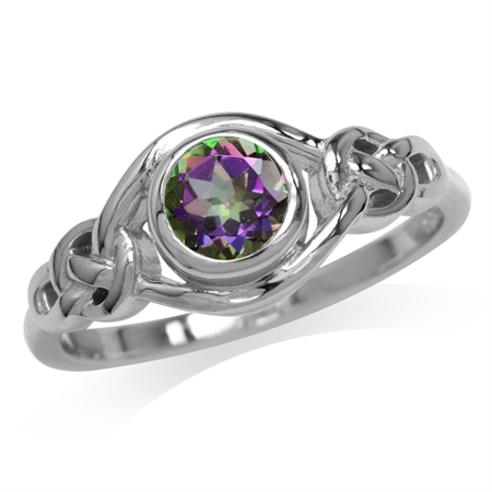 Mystic Fire Topaz White Gold Plated 925 Sterling Silver Celtic Knot Ring