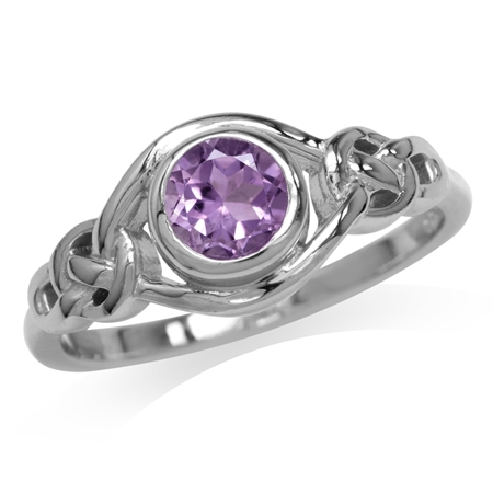 Natural Amethyst White Gold Plated 925 Sterling Silver Celtic Knot Ring