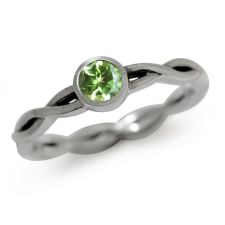Natural Peridot 925 Sterling Silver Stack/Stackable Ribbon Ring