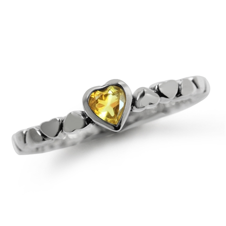 Natural Citrine 925 Sterling Silver Stack/Stackable Heart Solitaire Ring