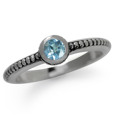 Genuine Blue Topaz 925 Sterling Silver Stack/Stackable Bali/Balinese Style Ring
