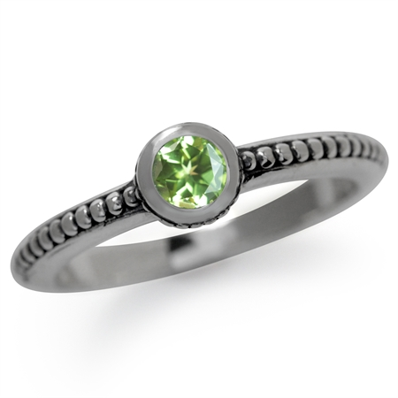 Natural Peridot 925 Sterling Silver Stack/Stackable Balinese Ring