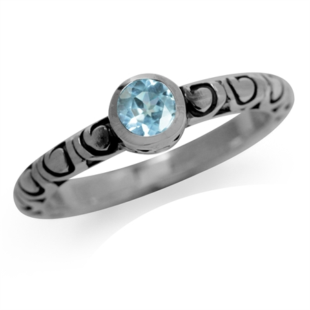 Genuine Blue Topaz 925 Sterling Silver Stack/Stackable Swirl Solitaire Ring