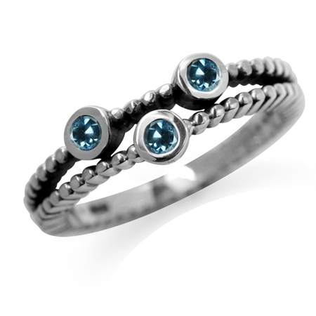 3-Stone Genuine London Blue Topaz 925 Sterling Silver Stack/Stackable Ring
