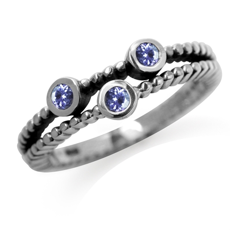 3-Stone Genuine Tanzanite 925 Sterling Silver Stack/Stackable Ring