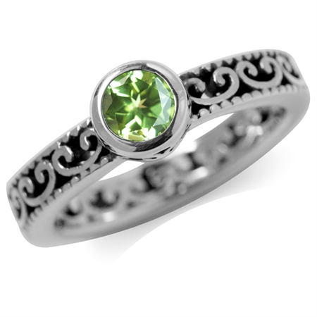 Natural Peridot 925 Sterling Silver Stack/Stackable Filigree Ring