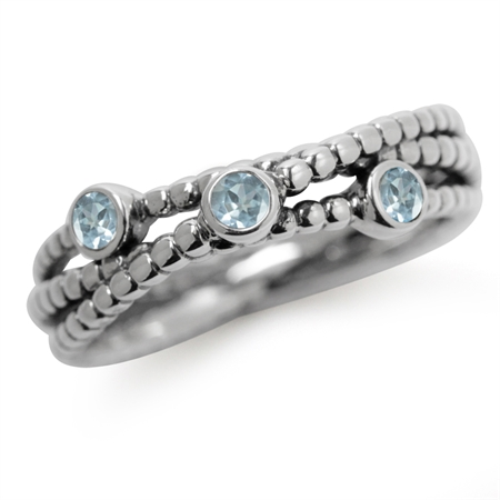 3-Stone Genuine Blue Topaz 925 Sterling Silver Stack/Stackable Ribbon Ring