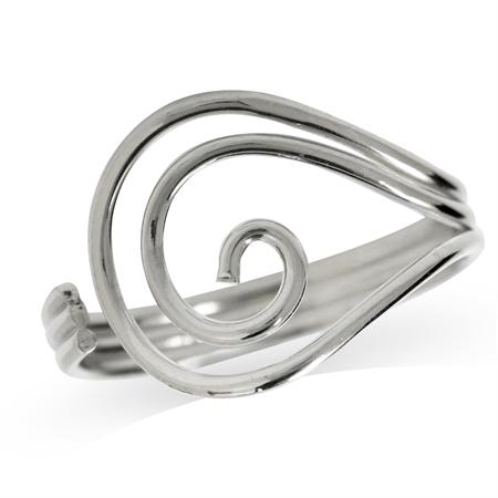 925 Sterling Silver Swirl & Spiral Ring