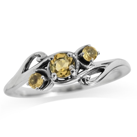 Natural Citrine 925 Sterling Silver Vine & Leaf Ring