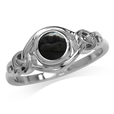 Created Black Onyx 925 Sterling Silver Celtic Knot Solitaire Ring
