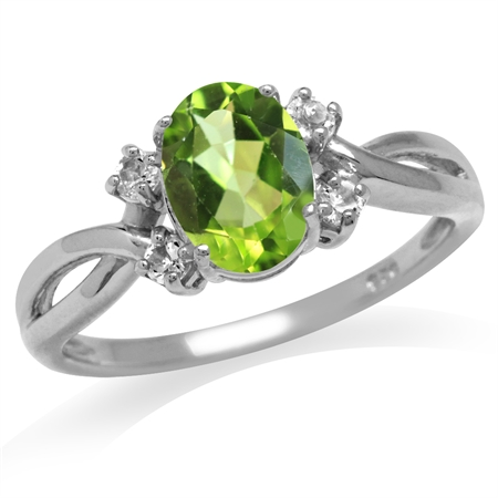 1.24ct. Natural Peridot & White Topaz 925 Sterling Silver Engagement Ring