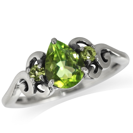 1.21ct. Natural Peridot 925 Sterling Silver Victorian Style Ring