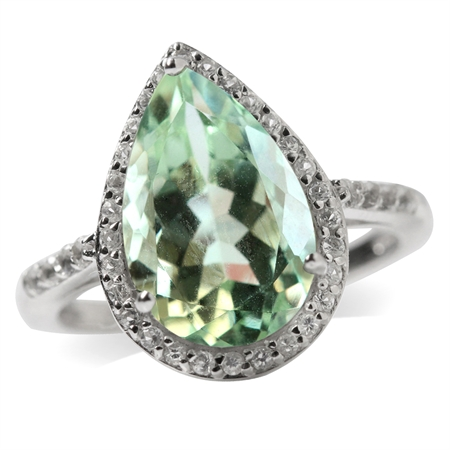 4.31ct. 14x9MM Natural Pear Shape Green Amethyst & White Topaz 925 Sterling Silver Cocktail Ring