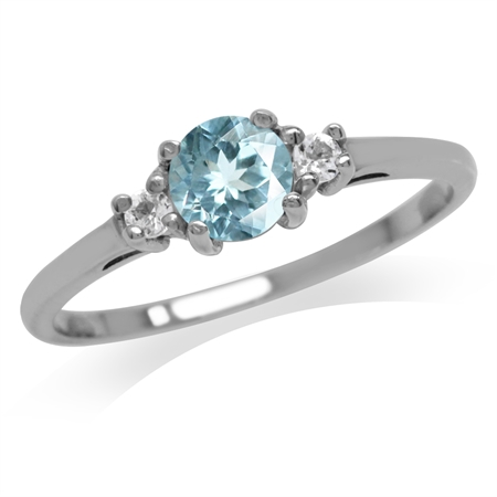 Petite Genuine Blue Topaz White Gold Plated 925 Sterling Silver Promise Ring