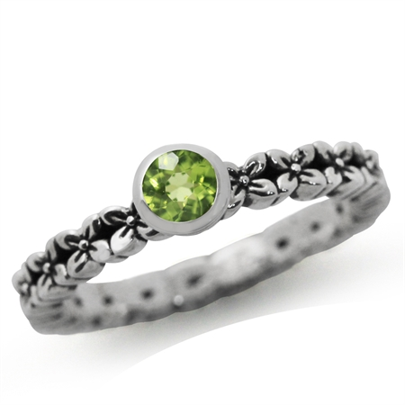 Natural Peridot 925 Sterling Silver FLOWER Stack/Stackable Ring