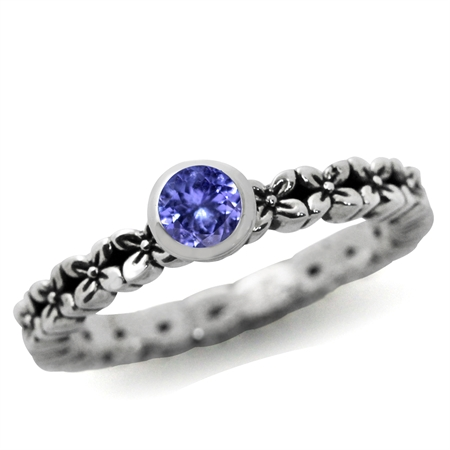Genuine Tanzanite 925 Sterling Silver FLOWER Stack/Stackable Ring
