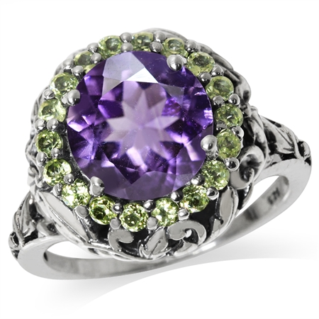 3.06ct. Natural Round Shape Amethyst & Peridot 925 Sterling Silver Leaf Vintage Style Ring