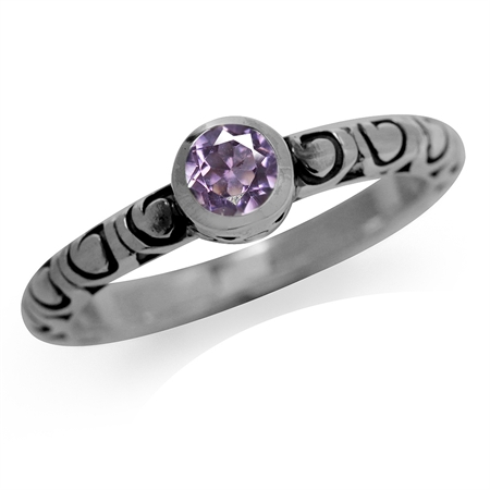 Natural Amethyst 925 Sterling Silver Stack/Stackable Swirl Solitaire Ring