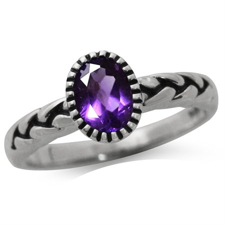 Natural African Amethyst 925 Sterling Silver Rope Solitaire Ring