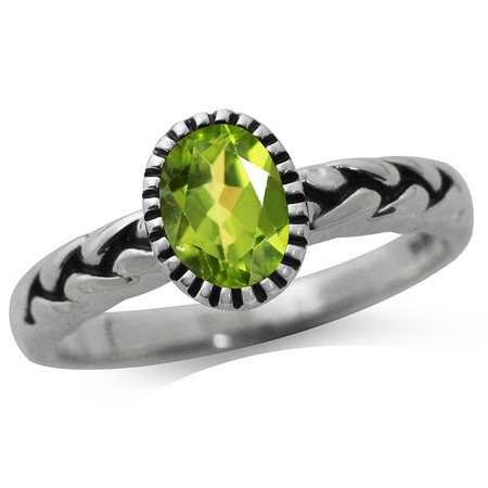 Natural Peridot 925 Sterling Silver Rope Solitaire Ring