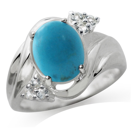 Created Turquoise & White Topaz 925 Sterling Silver Glamorous Ring