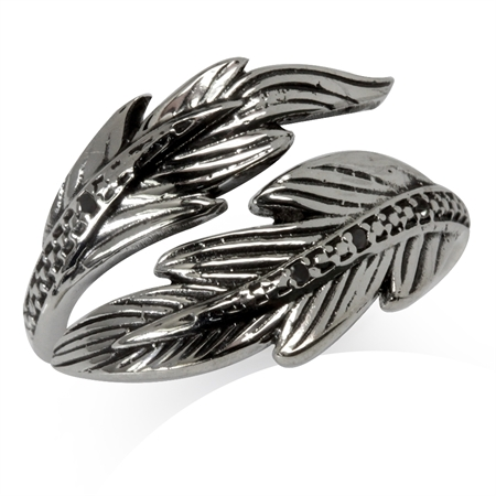 Natural Black Diamond 925 Sterling Silver Feather Adjustable Bypass Ring