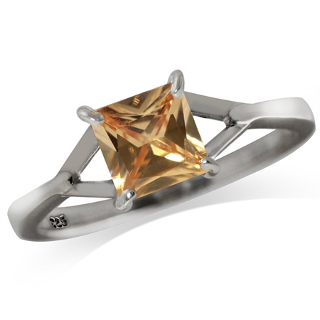 6MM Champagne CZ 925 Sterling Silver Solitaire Ring