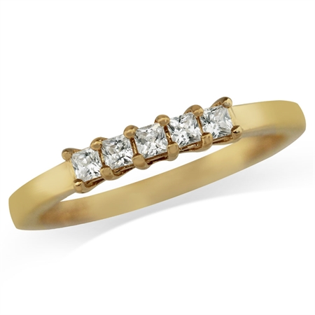 5-Stone White CZ 14K Gold Plated 925 Sterling Silver Ring