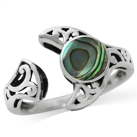 Abalone/Paua Shell 925 Sterling Silver Filigree Moon Solitaire Adjustable Ring