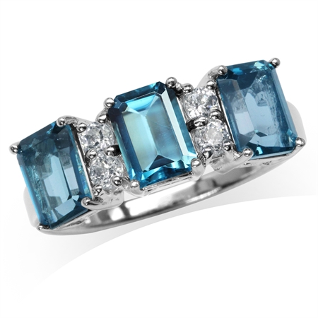 3.52ct. 3-Stone Genuine London Blue Topaz White Gold Plated 925 Sterling Silver Ring