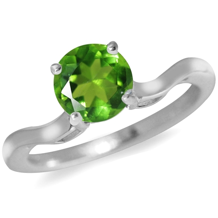 Peridot Green CZ 925 Sterling Silver Solitaire Ring
