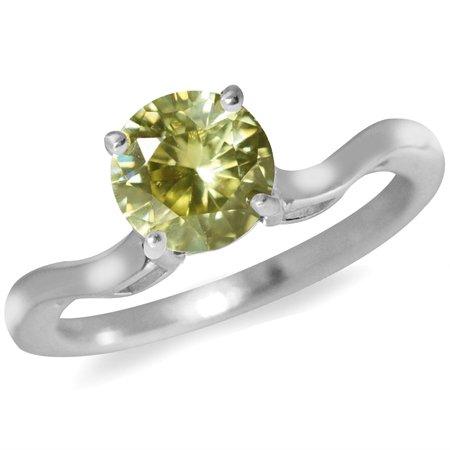 Lemon CZ 925 Sterling Silver Solitaire Ring