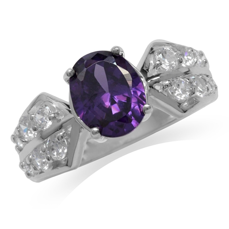 Amethyst Purple & White CZ 925 Sterling Silver Classic Ring