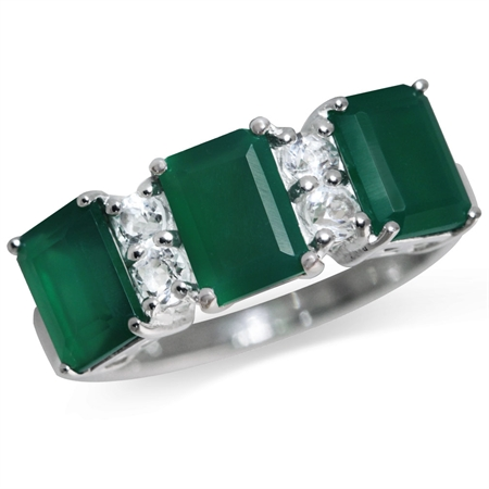 2.85ct. 3-Stone Natural Emerald Green Agate & White Topaz 925 Sterling Silver Ring