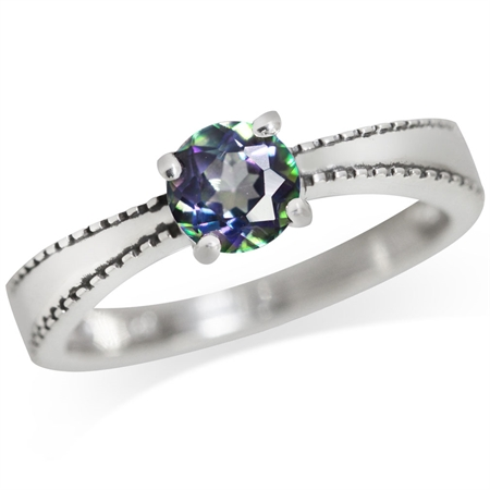 Mystic Fire Topaz 925 Sterling Silver Engagement Solitaire Ring