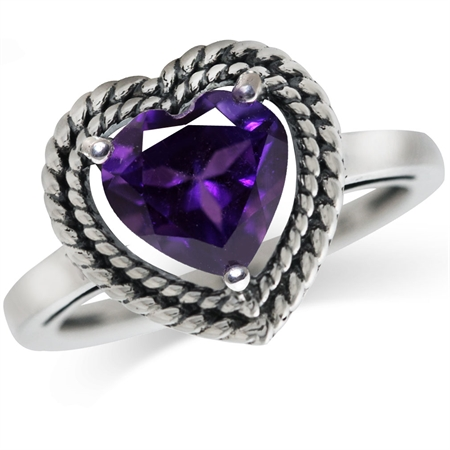1.74ct. Natural Heart Shape African Amethyst 925 Sterling Silver Rope Solitaire Ring