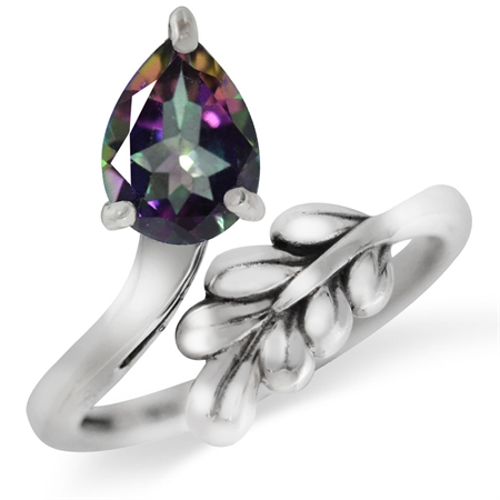 Mystic Fire Topaz 925 Sterling Silver Bypass Leaf Adjustable Ring