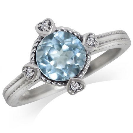1.59ct. Genuine Blue & White Topaz 925 Sterling Silver Petite Hearts Ring